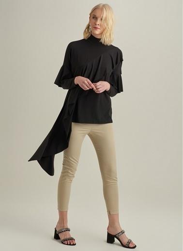 Ng Style Asimetrik Volanlı Örme Bluz Siyah